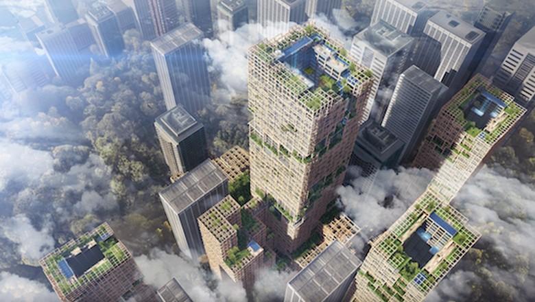 Foto: Desain gedung pencakar langit dari kayu (Sumitomo Forestry.co)