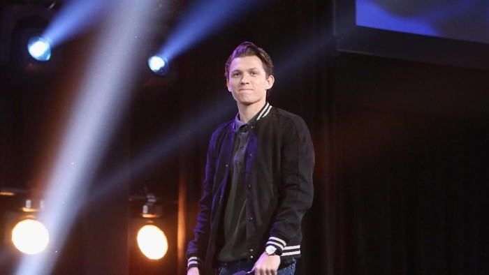 ANAHEIM, CA - JULY 15:  Actor Tom Holland of AVENGERS: INFINITY WAR took part today in the Walt Disney Studios live action presentation at Disneys D23 EXPO 2017 in Anaheim, Calif. AVENGERS: INFINITY WAR will be released in U.S. theaters on May 4, 2018.  (Photo by Jesse Grant/Getty Images for Disney)