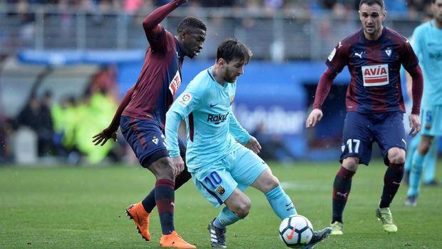 Lionel Messi gagal mencetak gol ketika Barcelona mengalahkan Eibar pada pekan ke-24 La Liga 2017/2018.