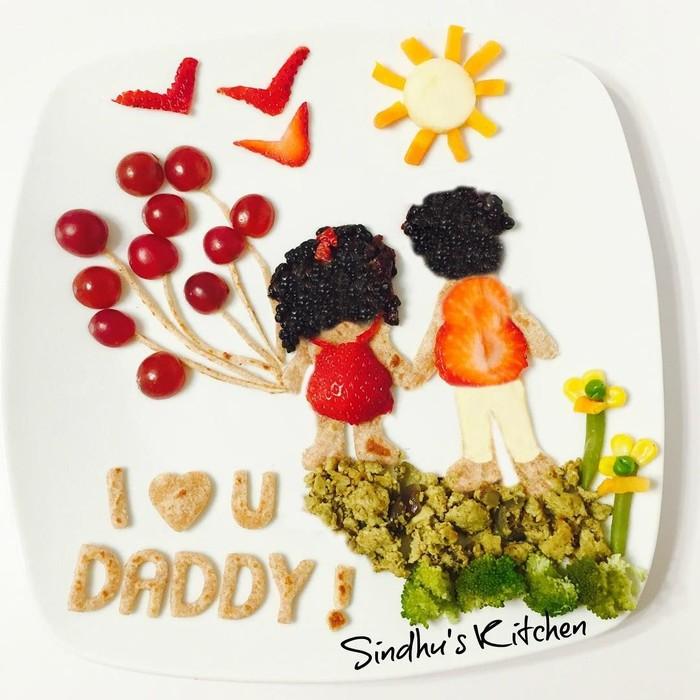 Di Hari Ayah, ia pun membuat makanan yang bertema Happy Fathers Day. So sweet! Foto: Sindhu Rajan