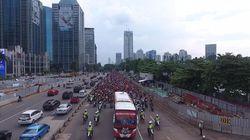 Melihat Pawai Kampiun Persija Jakarta dari Langit