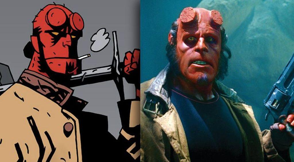 Penampilan Hellboy di komik dan di film cukup mirip. Foto: Vulture
