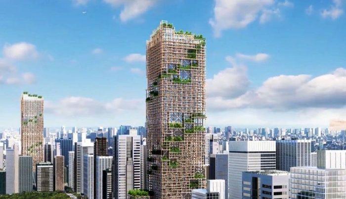 Pengembang Jepang Sumitomo Forestry merilis desain gedung pencakar langit tertinggi yang rencananya dibangun di Tokyo. Gedung yang dirancang oleh Nikken Sekkei ini memiliki tinggi 1.148 kaki atau sekitar 350 meter. Istimewa/Inhabitat.