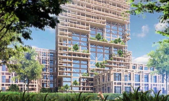Gedung yang menggunakan ornamen kayu ditargetkan selesai dibangun pada 2041 mendatang sekaligus menandai hari jadi Sumitomo ke 350 tahun. Kerangka bangunan tersebut juga mengubah kota menjadi ramah lingkungan karena ditumbuhi tanaman. Istimewa/Inhabitat.