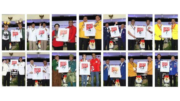 Foto kolase sejumlah pengurus parpol dengan nomor urut nya di Pemilu 2019, di Gedung KPU, Jakarta, Minggu (18/2).