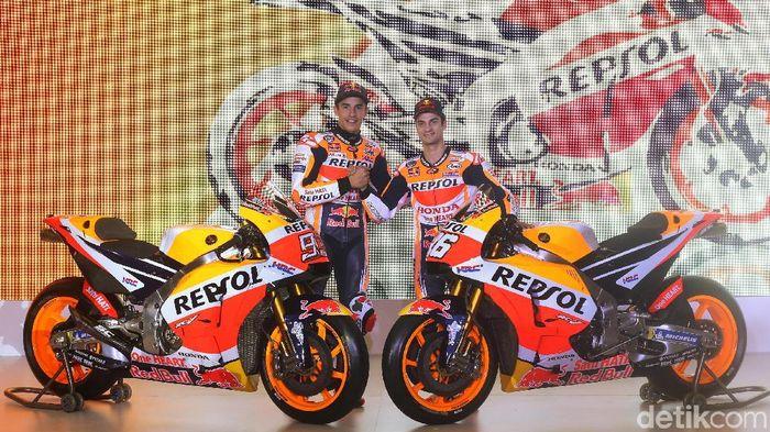 Marc Marquez dan Dani Pedrosa menjadi pebalap Repsol Honda musim ini (Foto: Ari Saputra/detikSport)