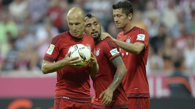 Robben bersama rekan-rekannya di Munchen.