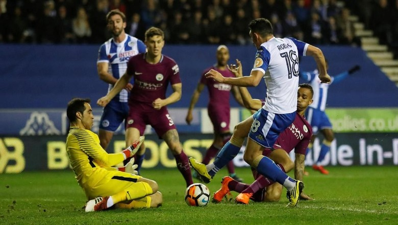 Wigan saat mengalahkan Manchester City (Carl Recine/Action Images via Reuters)