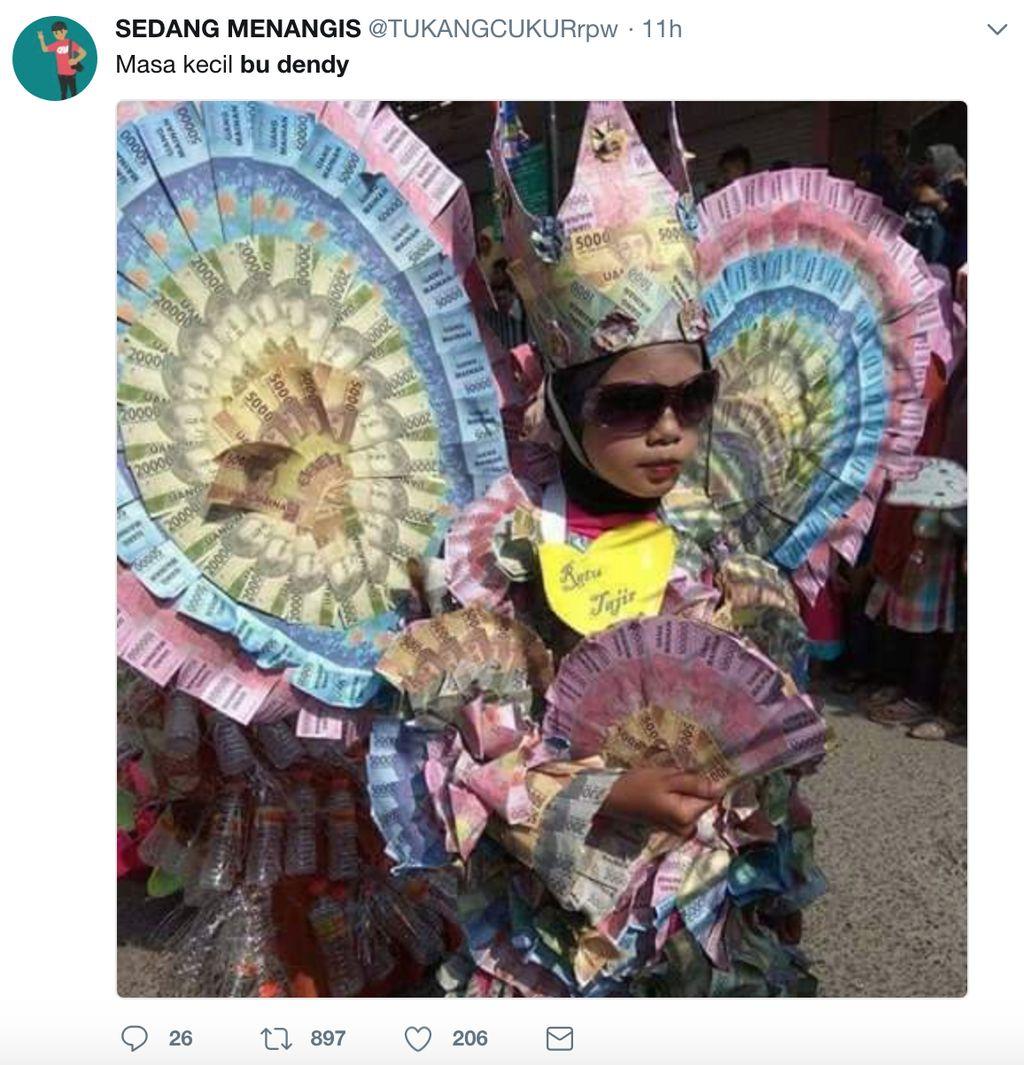 Linimasa sosial media, khususnya di Twitter, sedang dihebohkan dengan nama Bu Dendy.Foto: Twitter