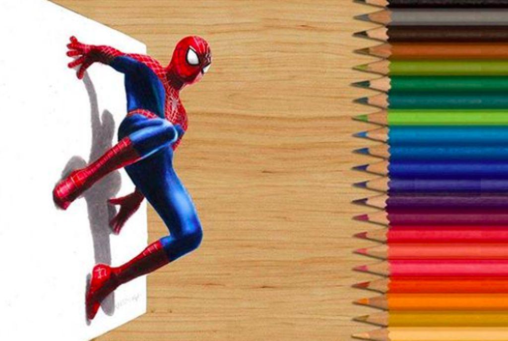 Gambar Spiderman ini dibuat menggunakan pensil warna dan kertas datar. Bisa seperti muncul dengan teknik khusus. Foto: Instagram
