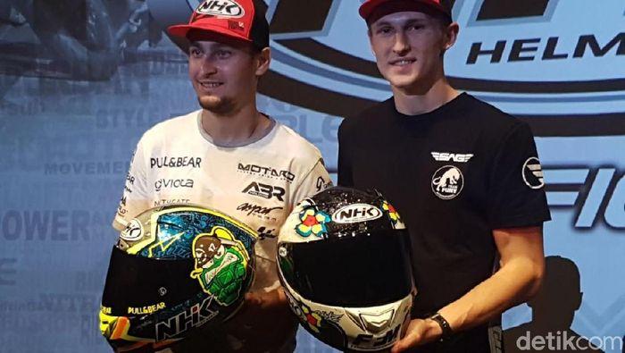 Karel Abraham (kiri) dan pebalap Moto2 Jules Danilo (Rangga Rahadiansyah/detikOto)
