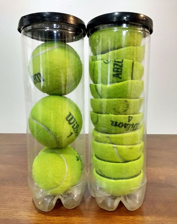 Ingin menyimpan lebih banyak bola tenis di satu botol? Potong bolanya jadi dua, sekarang satu botol bisa memuat 5 bola, hemat tempat. Istimewa/Boredpanda.