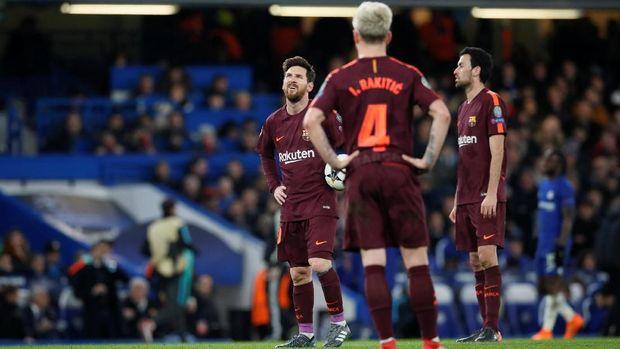 Barcelona sempat kesulitan menembus pertahanan Chelsea.