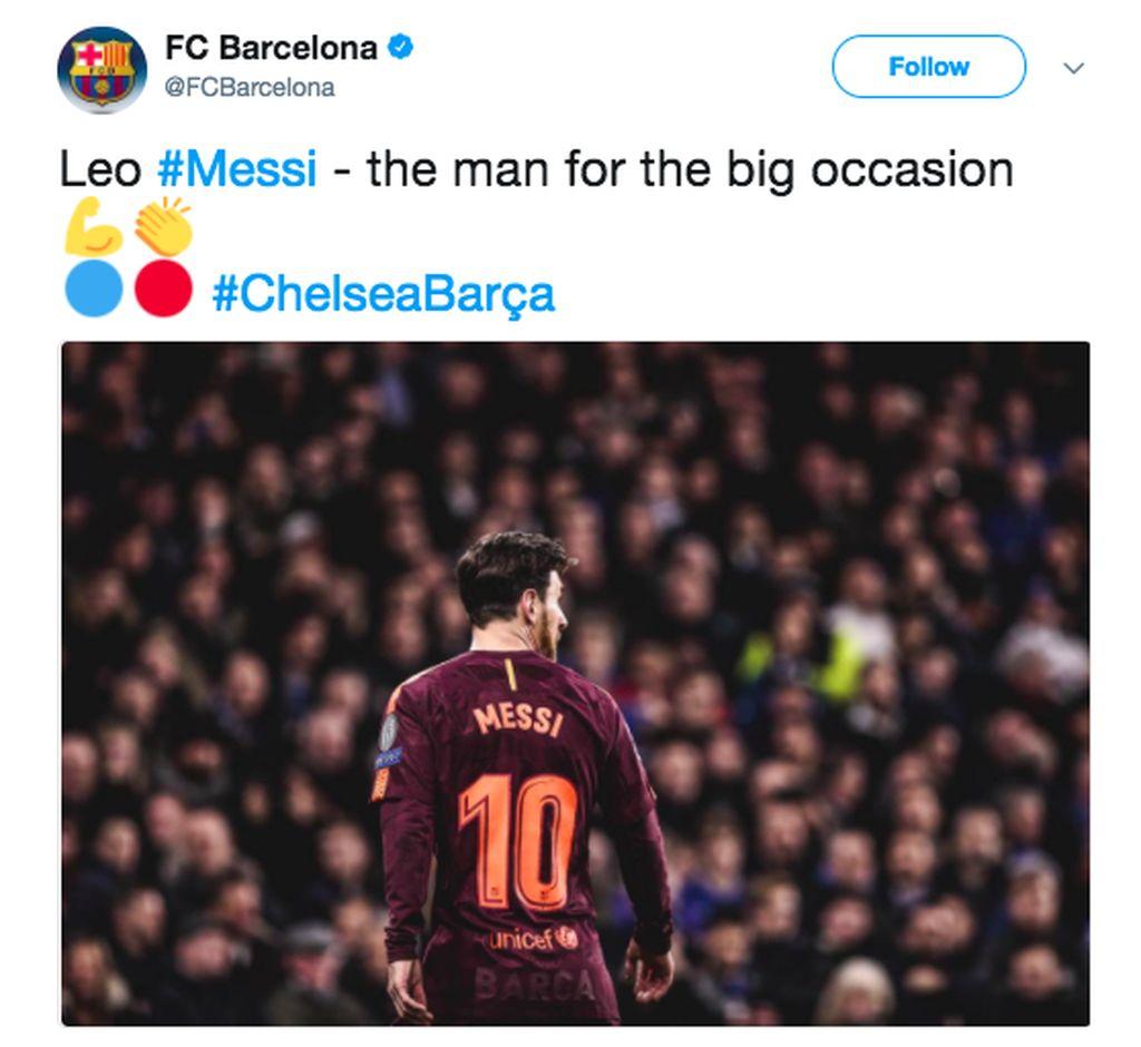 Messi menyamakan kedudukan setelah tertinggal dari Chelsea, keseikian kalinya dia menentukan di pertandingan besar. Foto: istimewa