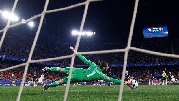David De Gea jadi jusruselamat Manchester United di Roman Sanchez Pizjuan.