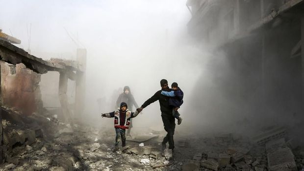 Ilustrasi warga Ghouta Timur.