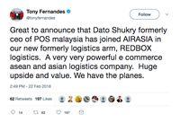 AirAsia Gaet Mantan Bos Pos Malaysia ke Divisi Logistik