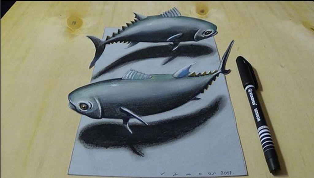 Seniman itu adalah Sandor Vamos yang memiliki jenis aliran lukis anamorphic 3 dimensi sebuah gambar yang memiliki sudut pandang khusus agar lukisan bisa dilihat jelas. (Foto: Sandor Vamos)