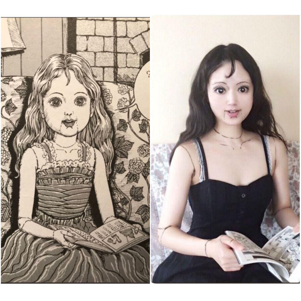 Lewat akun Twitternya @mamakiteru, seorang wanita asal Jepang membuat netizen terperangah dengan aksinya. Ikura demikian nama aslinya, memamerkan kemampuan makeupnya dengan meniru karakter komik manga genre horor.(Foto: Twitter/mamakiteru)