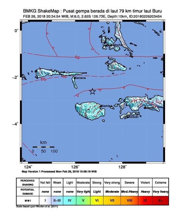 Gempa 6,0 SR Guncang Buru Maluku