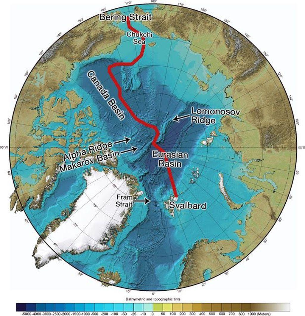 Palung Eurasian yang memiliki kedalaman 5.450 meter dan panjang 350 kilometer ini merupakan titik terdalam di Samudra Arktik. (Foto: Marine Insight)