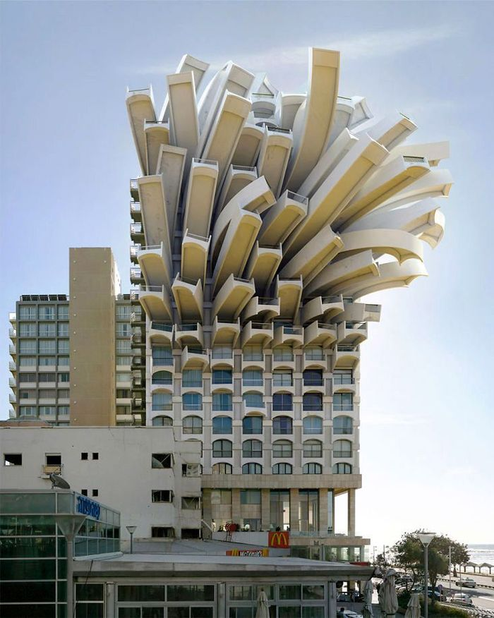 Bagian atas gedung bertingkat ini tampak seperti tumpukan kentang goreng. Istimewa/Boredpanda.