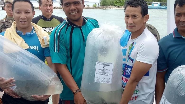 Sandiaga Bagikan Benih Ikan dan Panen Semangka di Pulau Tidung