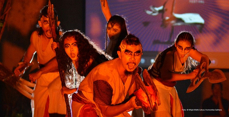 Kalanari Theatre Movement saat pentas di SIPFest, Komunitas Salihara Foto: Witjak Widhi/ Komunitas Salihara