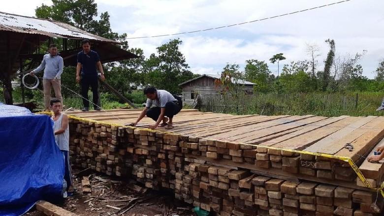 Polda Kalbar Amankan 5.000 Batang Kayu Belian dan Meranti Ilegal