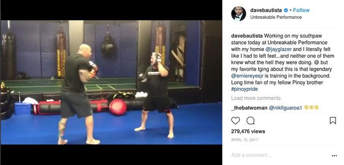 Latihan ketat masih dilakukannya meski sudah tidak aktif sebagai pegulat profesional dan atlet MMA. (Foto: instagram/DaveBautista)