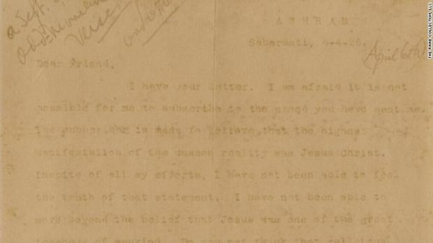 Surat Mahatma Gandhi kepada tokoh Kristen di Amerika Serikat yang dilelang.