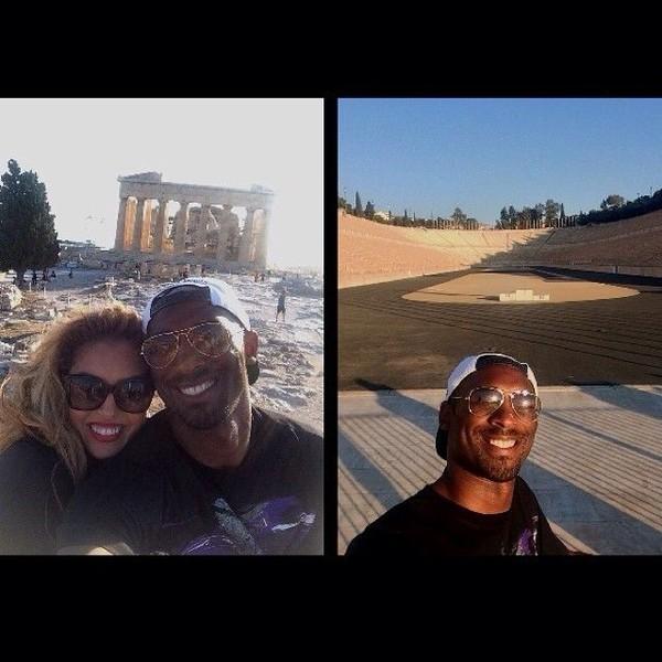 Selfie Black Mamba (julukan Kobe) bersama istrinya di Athena, Yunani (kobebryant/Instagram)