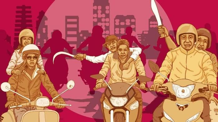 ILUSTRASI FOKUS (BUKAN BUAT INSERT) PENYERANGAN GENG MOTOR DI KEMANG (ILUSTRATOR: FUAD HASIM/DETIKCOM)