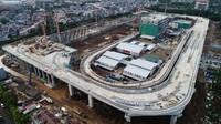 Penampakan depo LRT Jakarta yang akan menjadi gudang operasi dan maintenance kereta. Pool/Wijaya Karya.