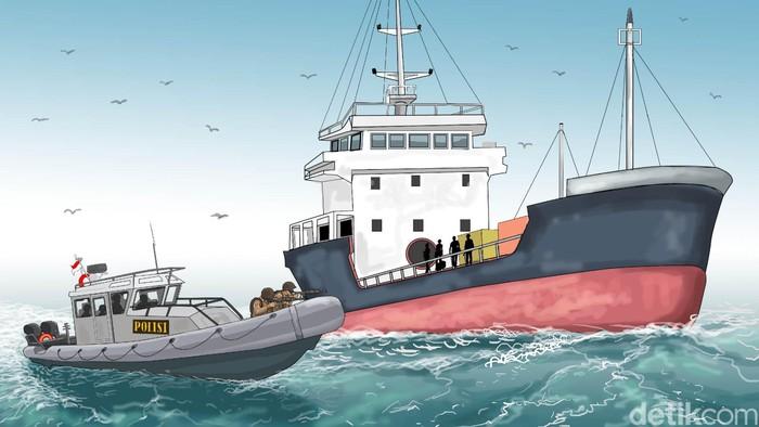 Ilustrasi kapal (Foto: Ilustrator: Edi Wahyono)