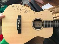 Gitar bertandatangan yang dihadiahkan Ed Sheeran untuk membantu Melody Driscoll. (Foto: Facebook/Karina Marie Driscoll)