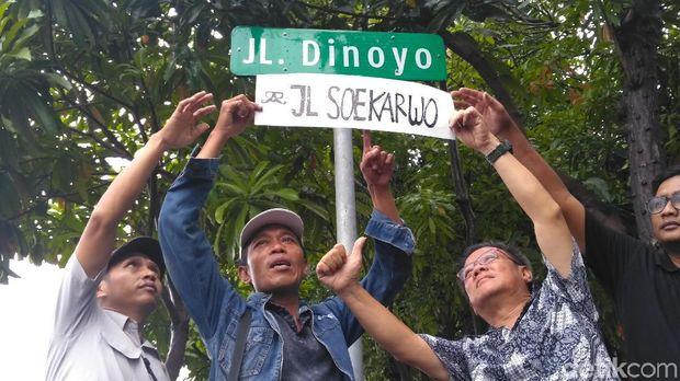 Warga berunjuk rasa menolak perubahan nama Jl Dinoyo