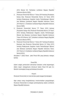 Pasal 85A yang disisipkan ke PP 23/2010