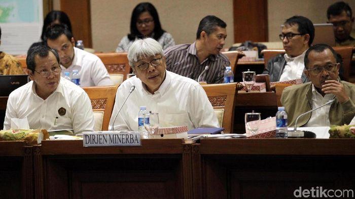 Dirjen Minerba ESDM Bambang Gatot Ariyono rapat di komisi VII DPR Foto: Lamhot Aritonang