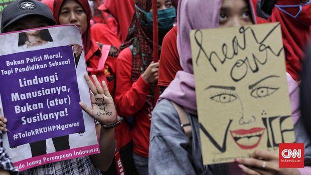 Aksi damai dalam rangka Hari Perempuan, di Jl. MH. Thamrin, Jakarta, Kamis (8/3).