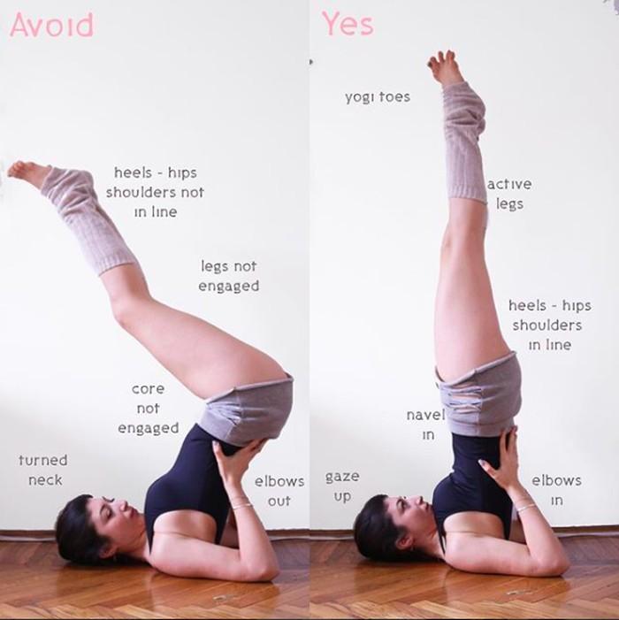Saat melakukan pose Sarvangasana, pemula sering tidak mengencangkan otot-otot kaki dan perutnya. Hasilnya, jadi tidak stabil. Instagram @martina__rando