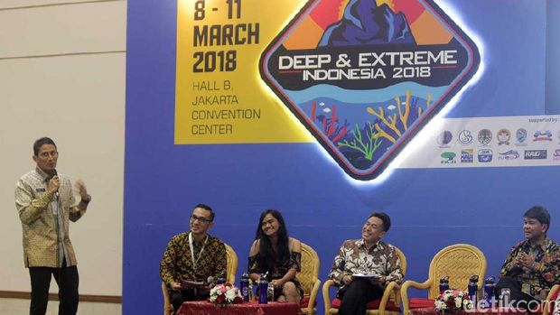 Sandiaga Uno dalam talkshow Deep and Extreme 2018 di JCC (Randy/detikTravel)