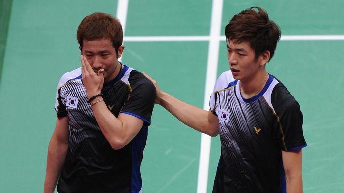 Jung Jae Sung/Lee Yong Dae saat bermain di Olimpiade 2012 London. (Michael Regan/Getty Images)