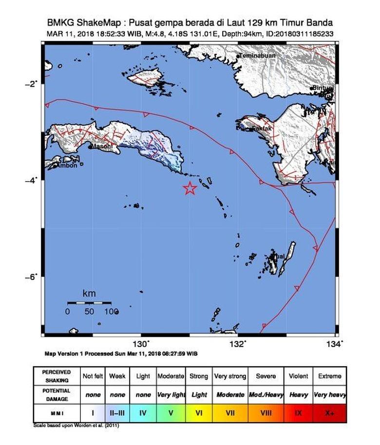 Gempa 4,8 SR Guncang Banda Maluku