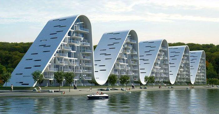 Apartemen yang bentuknya seperti gelombang ombak ini bernama Wave. Istimewa/Idesignsearch.