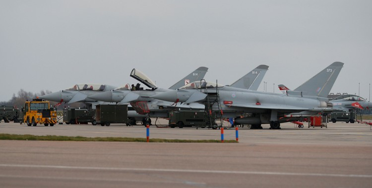 Eurofighter Typhoon aircraft are seen on the apron at RAF Coningsby in Lincolnshire, Britain, March 7, 2018. REUTERS/Phil Noble