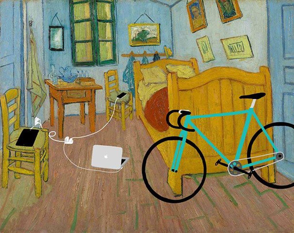 Ilustrator asal Korea Selatan, Kim Dong Kyu menyusupkan gadget di lukisan tenar zaman dulu. Ini adalah lukisan The Room dari Vincent van Gogh yang disusupi Macbook Air. Foto: Istimewa