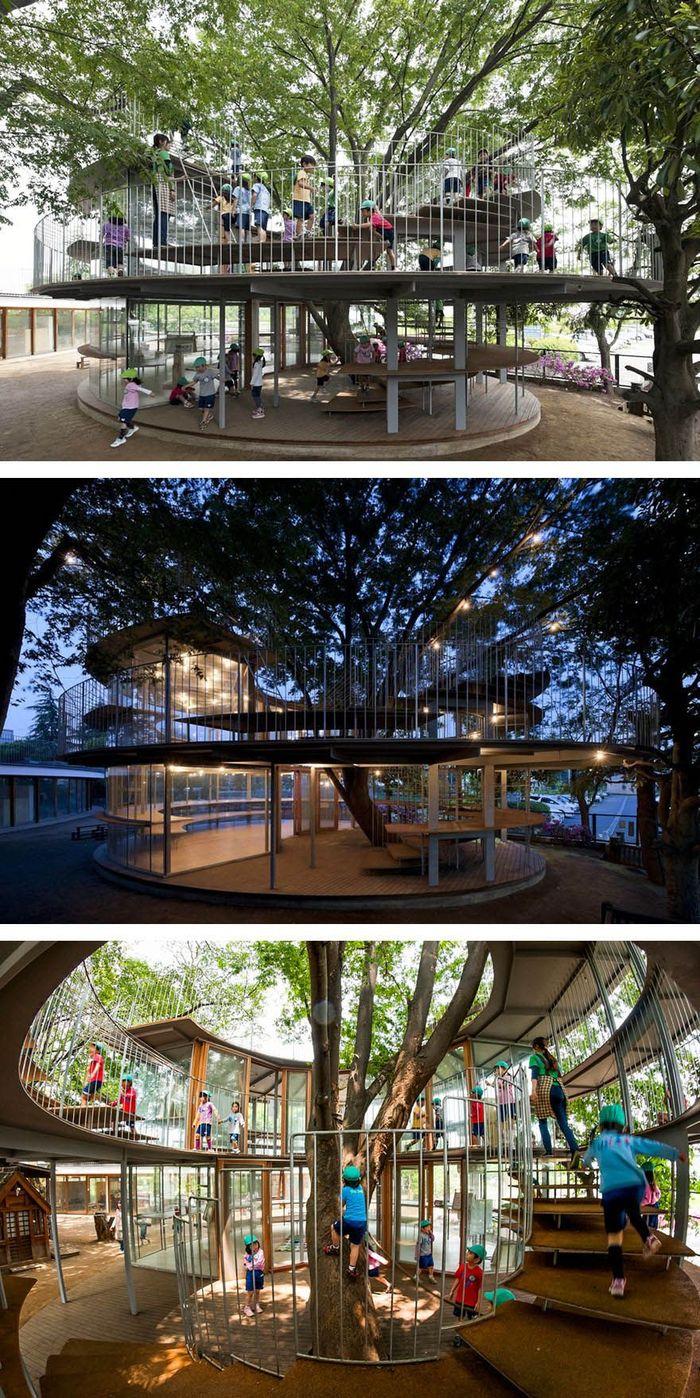Taman kanak-kanak (TK) di Jepang ini dibangun di tengah-tengah pohon, jadi tidak merusak tumbuhan sekitar. Istimewa/Boredpanda.