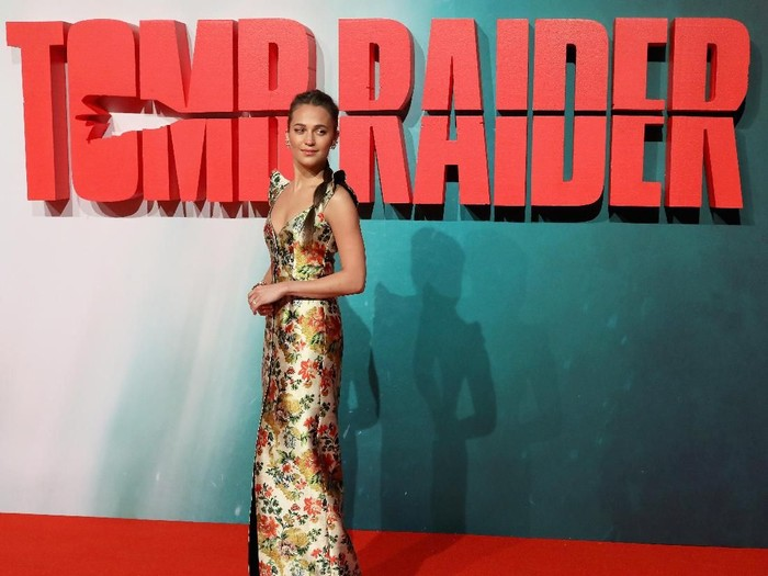 LONDON, ENGLAND - MARCH 06:  Alicia Vikander attends the Tomb Raider European premiere at the Vue West End on March 6, 2018 in London, England.  (Photo by Tim P. Whitby/Getty Images)