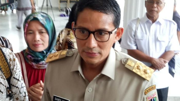 Sandiaga Uno di Balai Kota (Foto: Muhammad Fida ul Haq/detikcom)